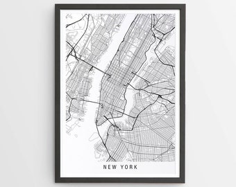 New York Map Print - Minimalist Map / USA / United States / America / City Print / Maps / Giclee Print / Poster / Framed