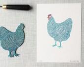 Chicken 'handprinted limited edition (30) linoprint'
