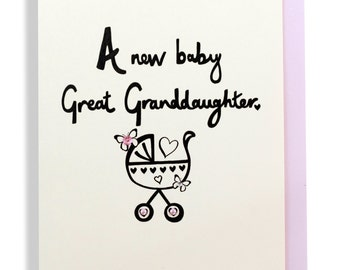 New baby great granddaughter hand finished greetings card