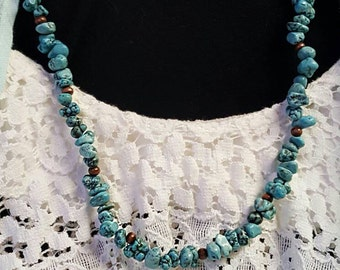 Boho Turquoise Necklace and Sterling Silver