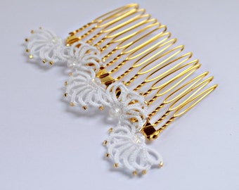 Bridal hair comb lace and rock crystal -  beads gems - handmade lace - wedding bridal hair accessories - veil comb hairpiece