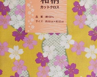 SAKURA fabric Japanese designed (Mustard yellow)