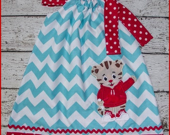 Cute Daniel the Tiger  Pillowcase style dress Aqua Chevron and red polka dot