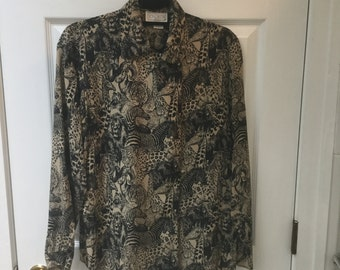 Vintage '90's Doncaster silk blouse with jungle animals