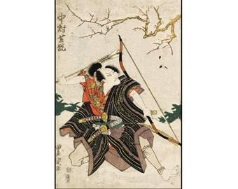 Archer Print - Samurai Vintage Print - Warrior Print - Japanese Print - Ukiyo-e - Woodblock Print - Digital Download - Digital Print