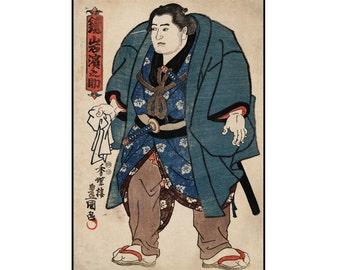 Sumo Wrestler Print - Sumo Print - Japanese Vintage Print - Japanese Print - Ukiyo-e - Woodblock Print - Digital Download - Digital Print