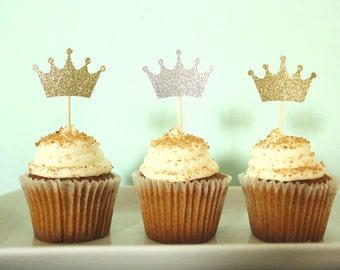 Crown Cupcake Toppers - Princess Cupcake Toppers - Little Prince Cupcake Toppers - Baby Shower Decor