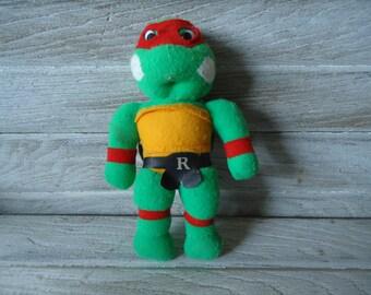 Vintage Stuffed Ninja Turtle toy - Vintage stuffed toy - Raphael Ninja Turtle toy - Ninja Turtle toy - Vintage stuffed animal - Ninja Turtle