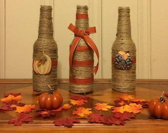 Fall Decor, Fall, Fall bottle, twine bottle