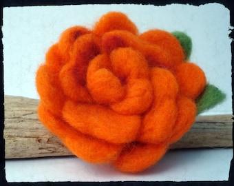 Tangerine needle felted brooch, flower brooch, orange flower, pin