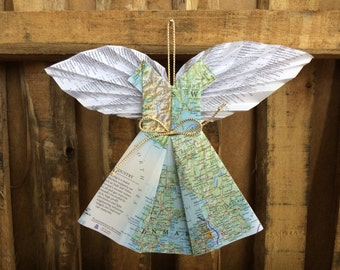 Angel of Netherlands/Denmark Map Ornament w/ Book Page Wings - Modern Christmas Decor- Repurposed Books Art -Inspiration Angels - Nederlands