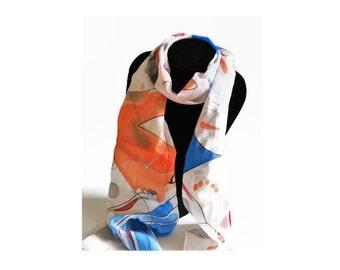 Handpainted Silk Scarf, luxury hand painted silk scarf, handmade silk wrap, gift for women, fashion accessory, modern design