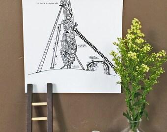 I Have Stylish Loft -Hand Drawn, Pen and Ink, Art Print, illustration, Wall art, Housewarming, Loft