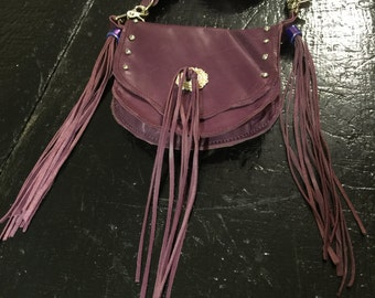 Pretty purple fringed leather hipster/crossbody bag