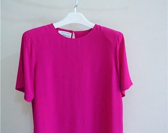 Unused NOS Pink blouse/top with pure silk, 100% silk pink/chock pink