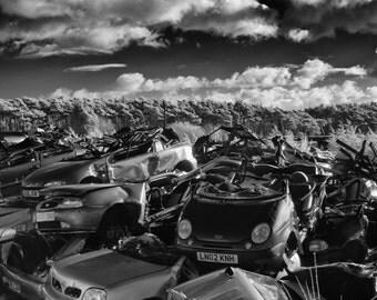 Black and White Infrared Photography UK, Scrapyard