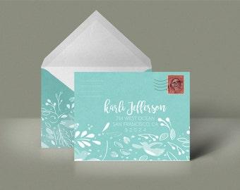 Blue Custom Printable Envelope Stationery Woodland Pattern