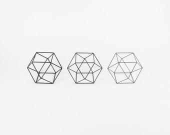 Cuboctahedron Set of 3 - Handmade Wireframe Decor - JY DesignLab