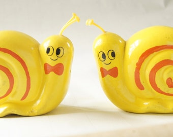 Large Yellow Snail Salt and Pepper Shakers Made in Japan