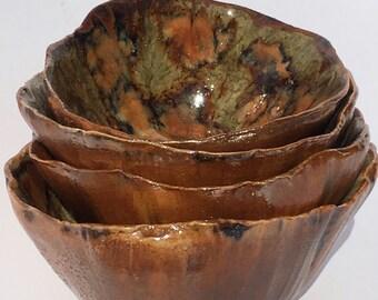 Nesting Ceramic Bowls, Stoneware Pottery, Ceramic Art Bowls, Pottery Bowls