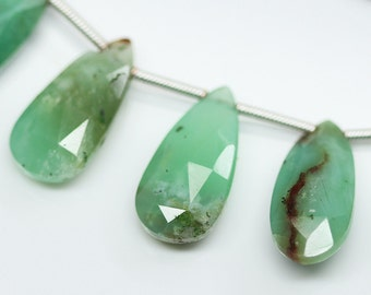 Bi Chrysoprase Faceted Pear Drop Briolette Loose Beads Strand - 4 inches - 17 MM - 22 MM - Jewelry Making