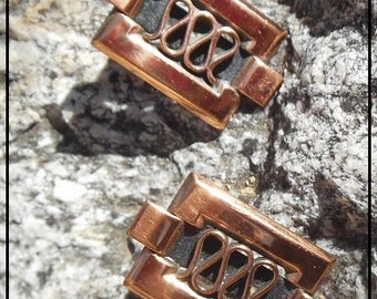 Vintage Renoir Copper Earrings converted to posts for pierced ears