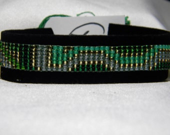 """Miyuki Handcrafted Multi colored Loom seed Beaded Bracelet """"Emerald Isle"""""""
