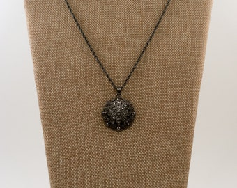 Dark Silver Vintage Medallion Necklace