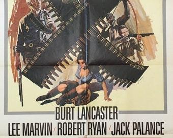 The Professionals 1966 original movie poster 27x41 Starring Lee Marvin,  Burt Lancaster, and Robert Ryan