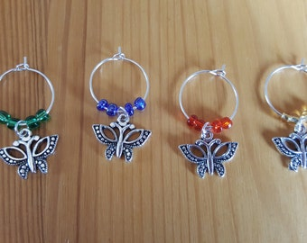 Butterfly Wine Glass Charms, boxed set of four