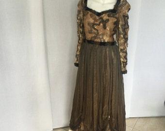 Antique Lace & Chiffon Gown