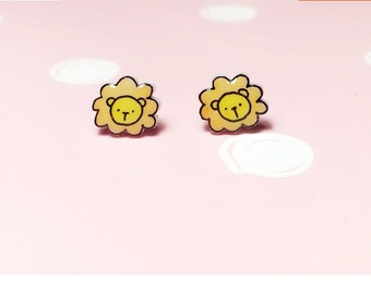 cute lion earrings,stud earings,animail earrings.