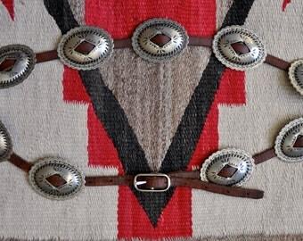 Vintage Southwestern Nickel Silver and Leather Skinny Belt