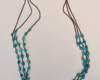 ON SALE : Vintage Native American 3 Strand Heishi & Turquoise Nuggets Necklace