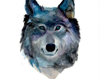 Wolf Face Original Watercolor 18x24