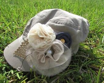 Womens khaki military style hat