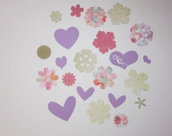 Hearts and Flowers Scrapbook Embellishment Set, Gold, Glitter, Pink, Purple, Lightweight Card Stock, Journal Gift Tags, Paper Crafts