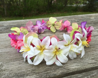 Pink, Yellow, Purple, and White Flower Crown