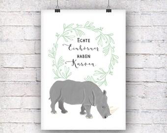Unicorn Rhino art print gift family art print, fine art print