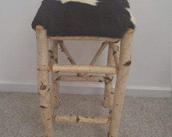 30% OFF PRICE with coupon code! Barstool: One of a kind White Birch/Cowhide barstool