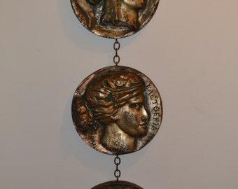 Mid Century Style wall art decoration mythology greek roman coins plaques