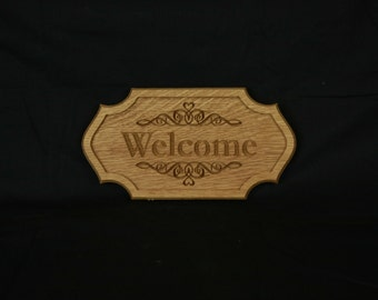 3D Wood Carved and Engraved Welcome Plaque