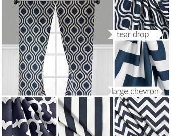 Navy Blue Curtains Nautical Modern Stripe Quatrefoil Window Treatments Navy Chevron Curtain Panels Drapes