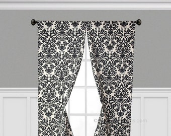 Marvelous Black Curtain Panels Window Treatments Black Floral Damask Curtains Custom  Drapery Decor Living Dining Room Formal