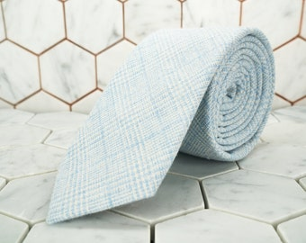 Sky Light Blue Mens Tie. Blue Plaid Necktie. Tiffany Blue Wedding Tie. Skinny Glen Plaid Tie. Mens Blue Skinny Ties. Light Blue Neck Ties.