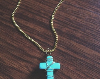 Wire Wrapped Cross Necklace