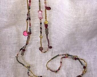 beaded necklace, semi-precious stones, cut crystal, czech glass beads