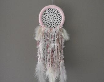 Pink dreamcatcher with crochet doily