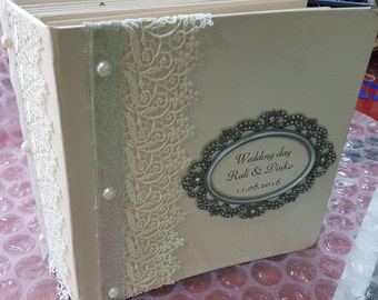 Wedding album, scrabbook wedding album, memory wedding box, vintage photo album, handmade scrabbok album