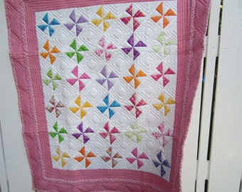 Modern Colorful Pinwheel Quilt / Baby Quilt / Lap Quilt / Contemporary Quilt /Baby Girl Quilt / Baby Gift Ideas / Quilts / Toddler Quilt